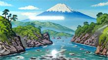 川下から見た富士山のペンキ絵
