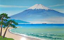 浜辺から見た富士山のペンキ絵